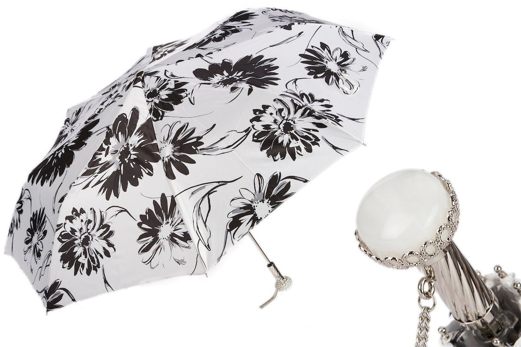 Black and White Flowered Umbrella - The Emperor's Lane