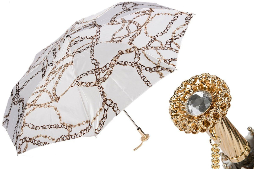 Chains Print White Folding Umbrella - The Emperor's Lane