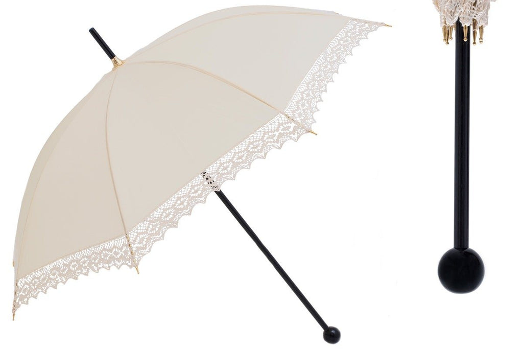Ivory Wedding Parasol with Lace - The Emperor's Lane