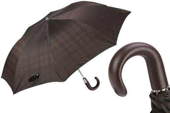 Brown Check Umbrella with Leather Handle