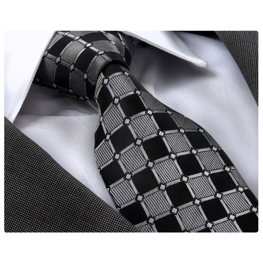 Grey Black Square, Men's Premium Neck Tie - The Emperor's Lane