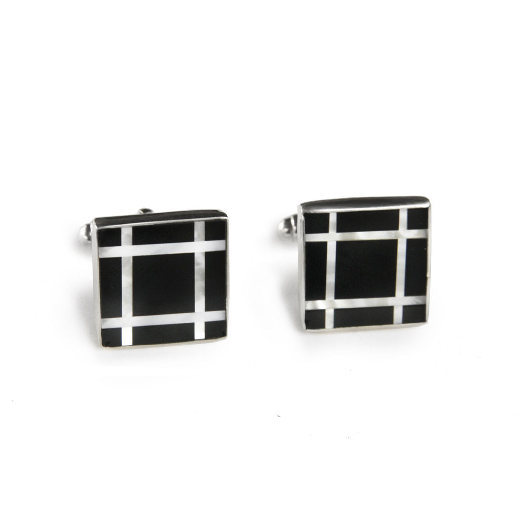 Square Black Onyx Grid Inlay Cufflinks in Sterling Silver