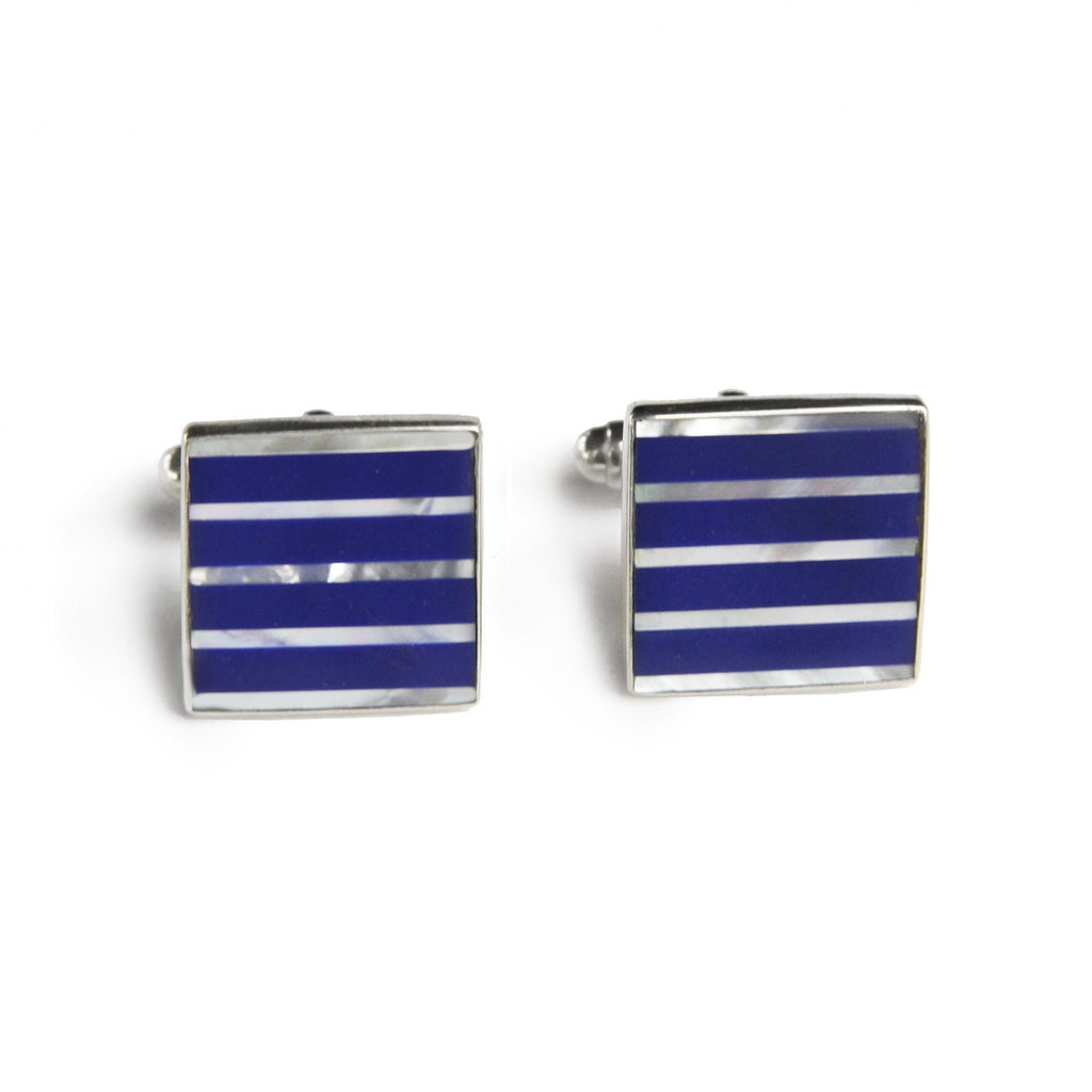 Square Blue & White Pinstripe Inlay Cufflinks, in Sterling Silver - The Emperor's Lane