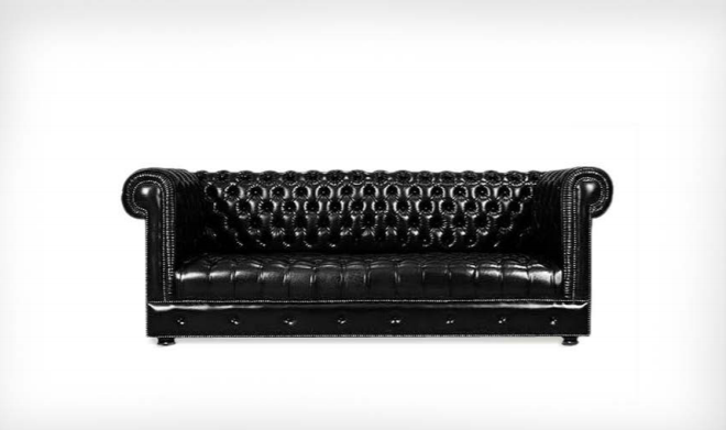Chesterfield Diamond Buttoned-Back Triple Sofa, Black