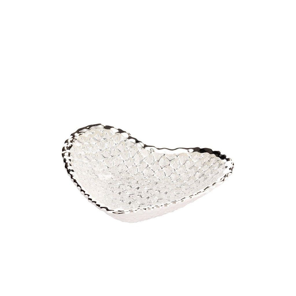 Glass Heart Diamante Bowl Argenesi Silver