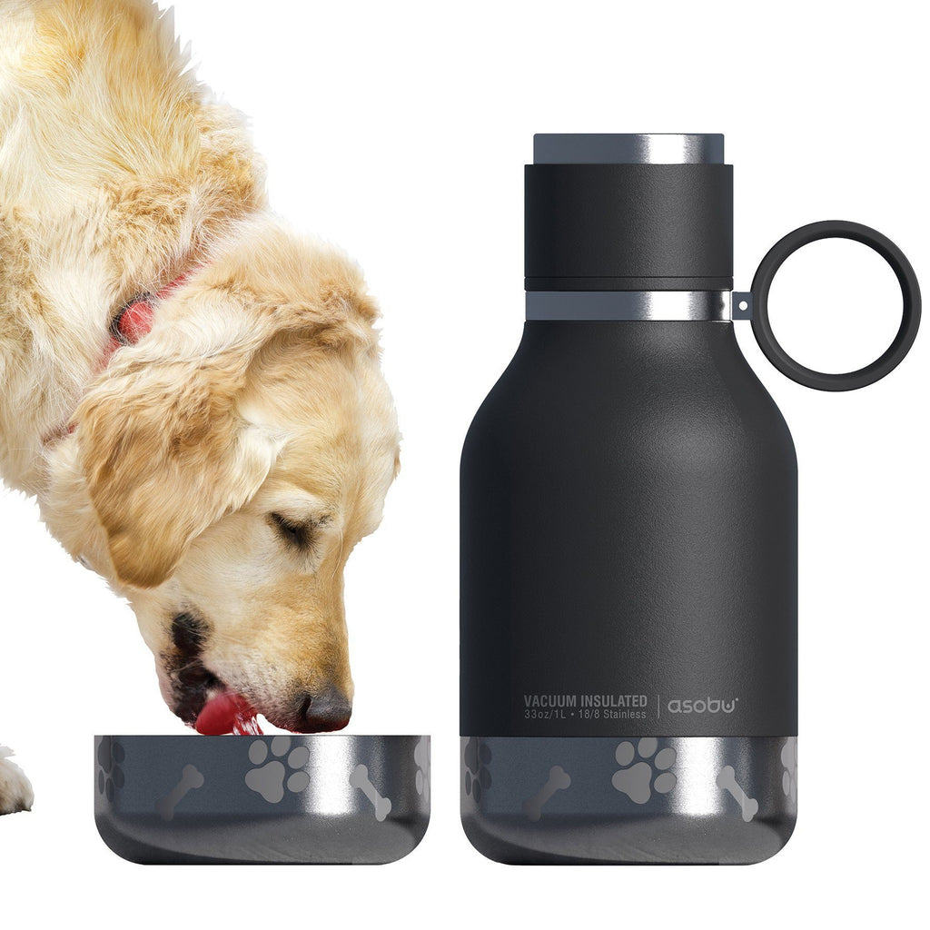 Dog Bowl Water Bottle, Insulated Black