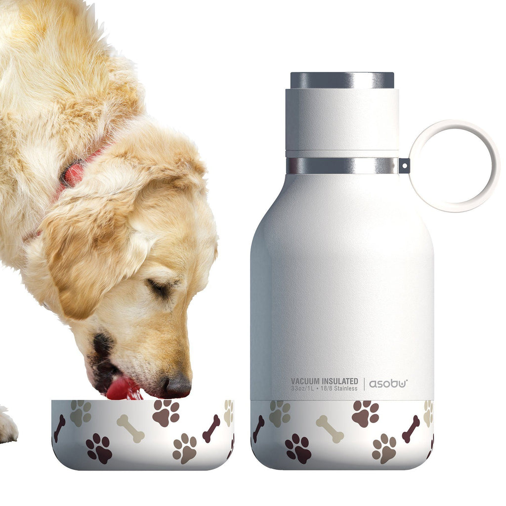 Dog Bowl Water Bottle, Insulated White