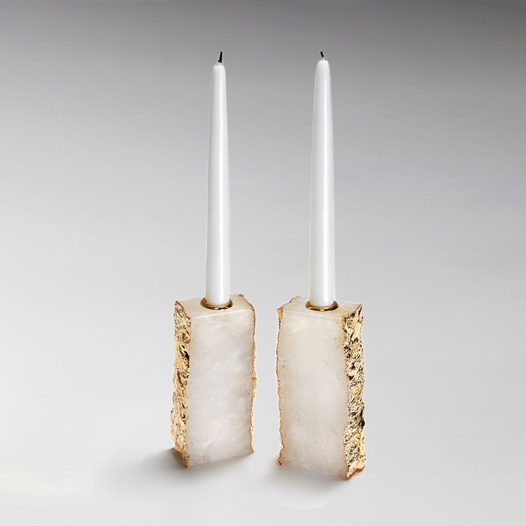Dourado Candle Holders, Crystal - Gold - The Emperor's Lane