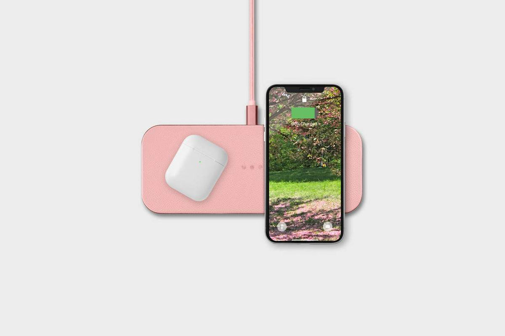 Dual Device Wireless Charger, Light Pink Office Accessories Courant