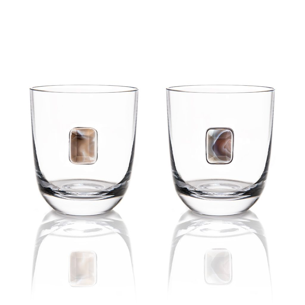 Elevo Double Old Fashioned Glass Pair, Amethyst - The Emperor's Lane