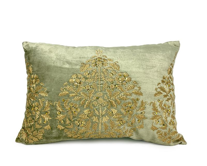 Tisya Green Luxury Pillow Decorative Pillow Handicraft Emporium