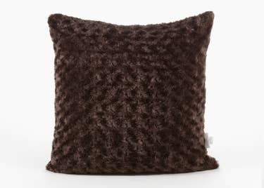 Luxe Rosebud Faux Fur Pillow, Brown - The Emperor's Lane