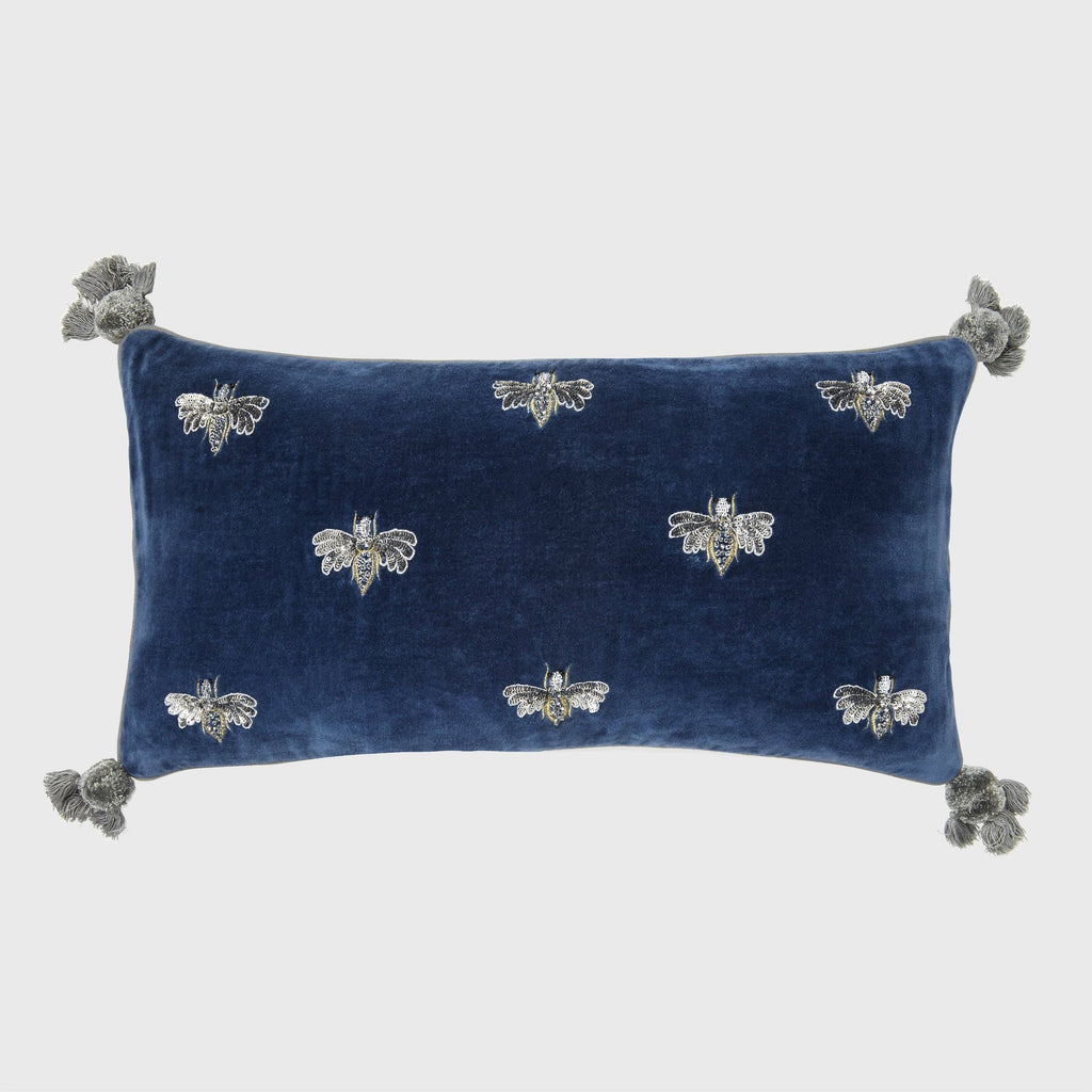 Embroidered Pretty Bug Pillow, Slate Blue
