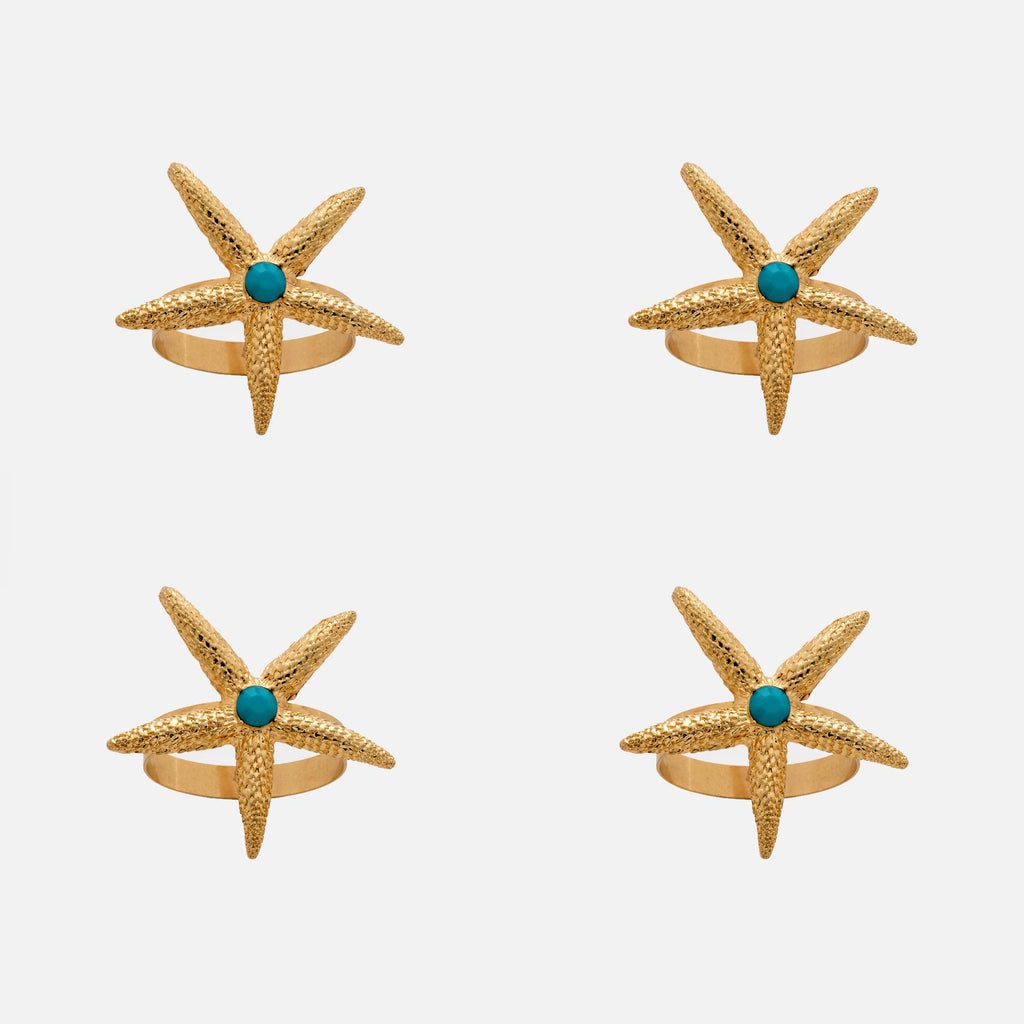 Starfish Skinny Napkin Rings, Gold, Set of 4 - The Emperor's Lane