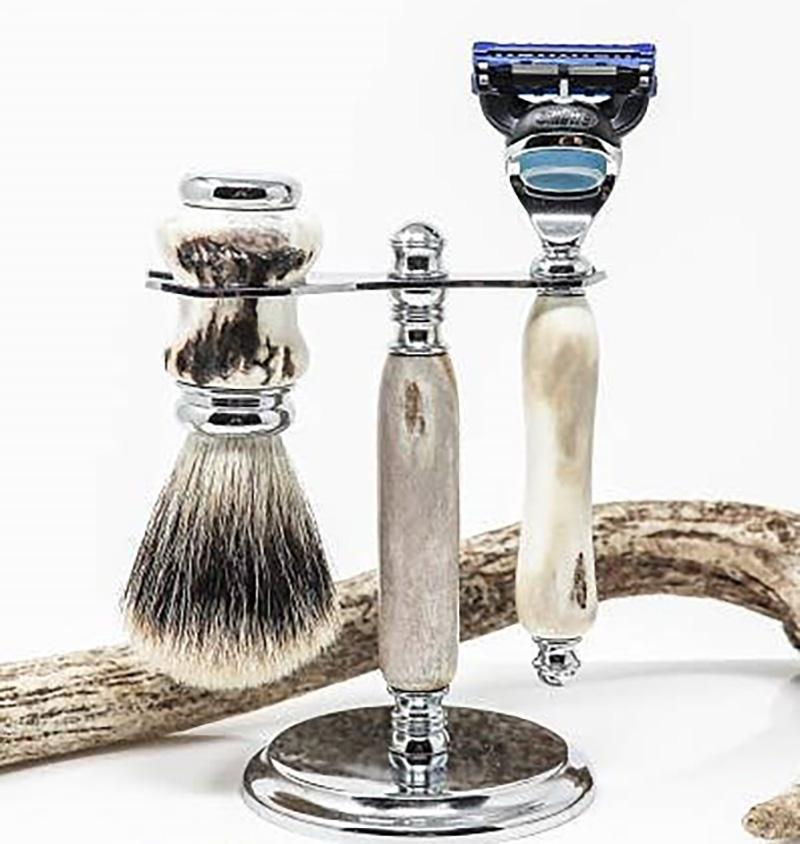 Antler Razor With Stand and Brush, Gillette Fusion Grooming Accessories Luxury Finds