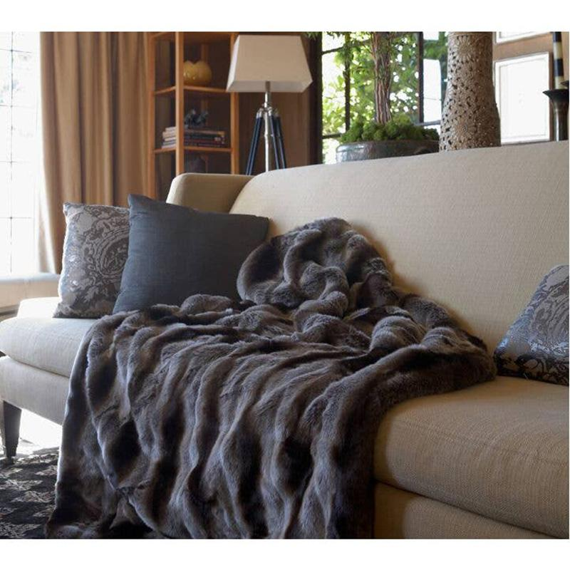 Chinchilla Faux Fur Throw, Grey - The Emperor's Lane