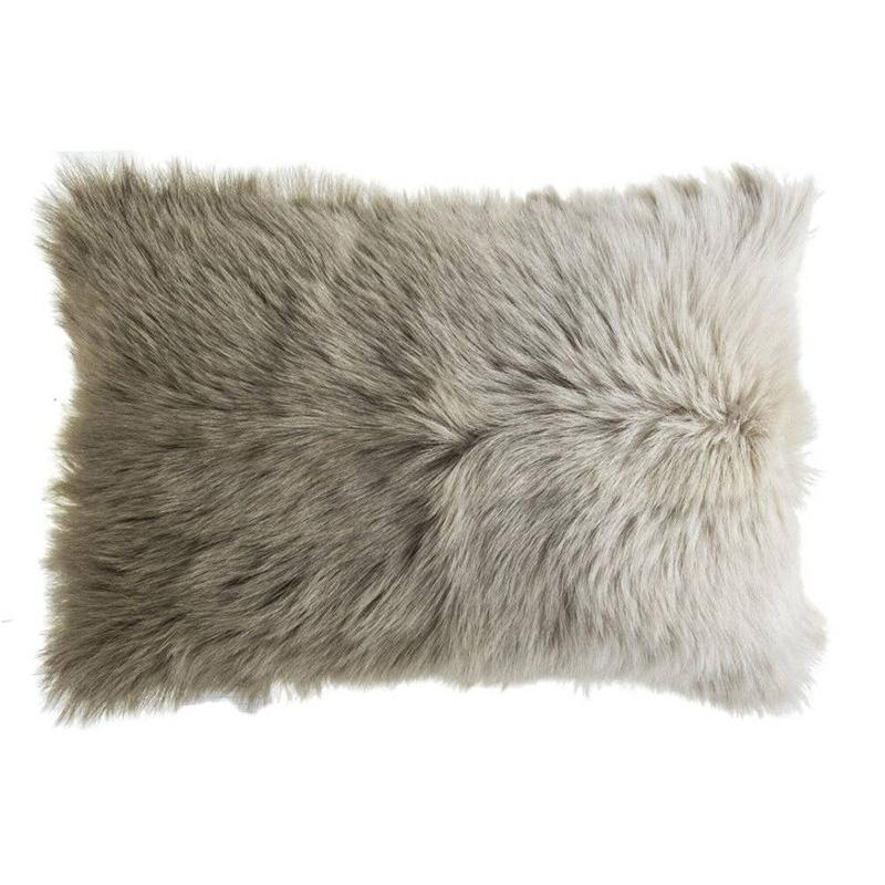 Lhasa Fur Lumbar Pillow, Beige - The Emperor's Lane