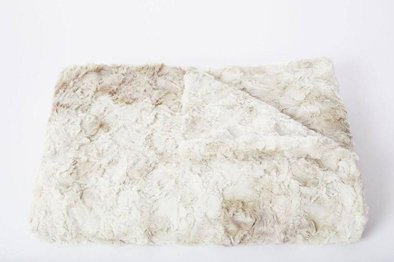 Marakech Faux Fur Throw, Cream and Beige - The Emperor's Lane