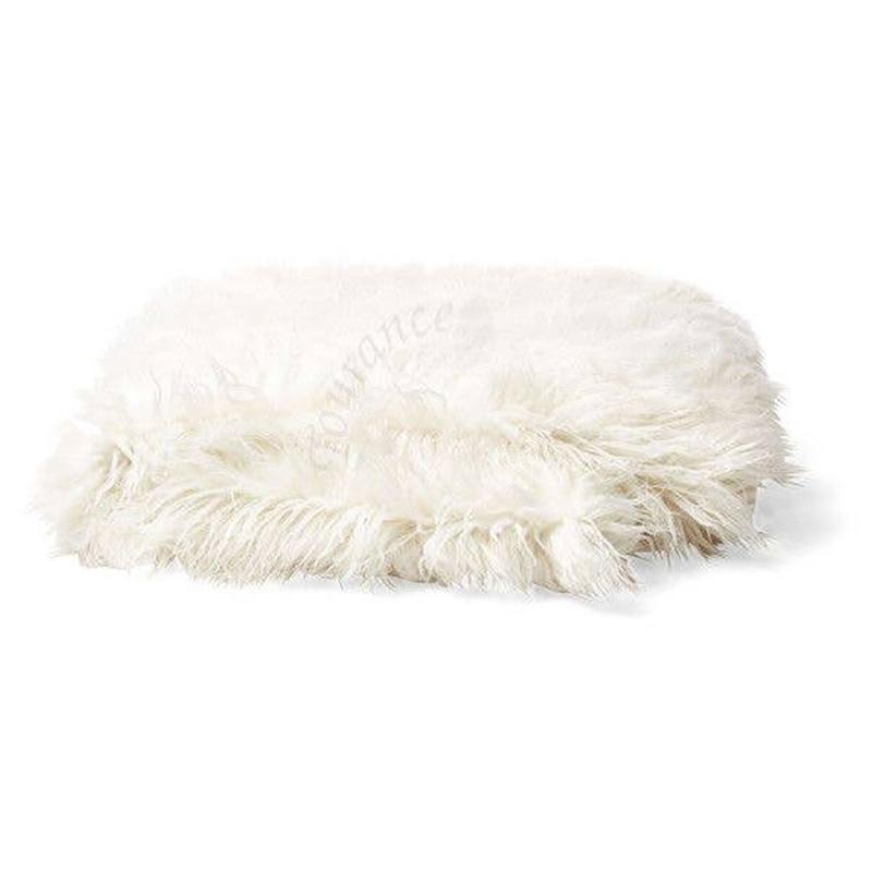 Mongolian Faux Fur Throw, Ivory - The Emperor's Lane