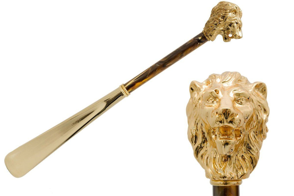Gold Lion Shoehorn, Pearly Brown Shaft