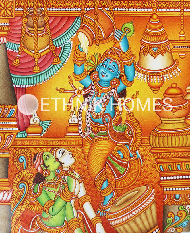 Youthful Krishna stealing butter with friends
