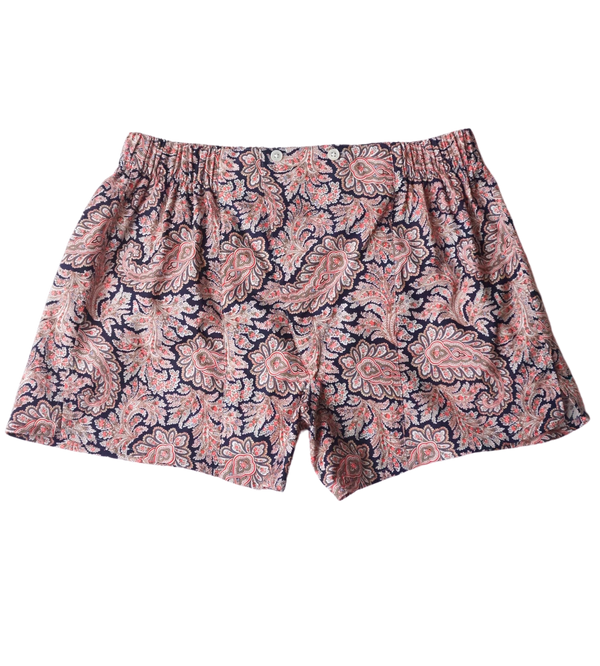 Navy/Red Paisley Cotton Boxers