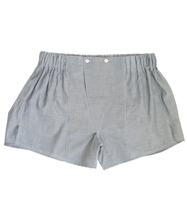 Grey/White Striped Cotton Boxers