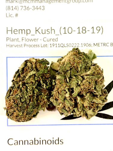 Hemp Kush CBD Hemp Flower USDA Certified Organic
