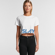 THE SLAY SHORT SLEEVE CROPPED TOP in White