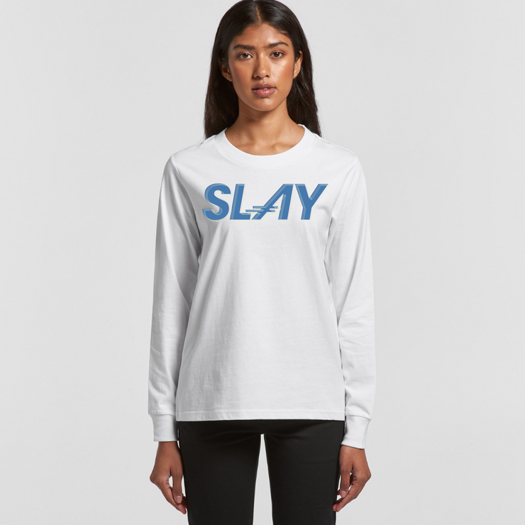 THE SLAY LONG SLEEVE CREWNECK in White