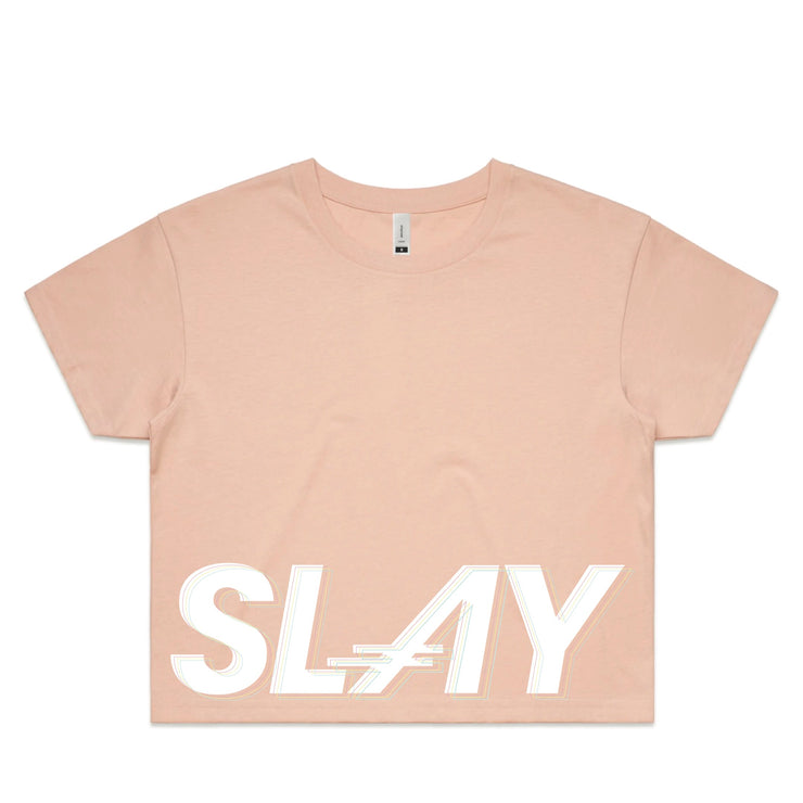THE SLAY SHORT SLEEVE CROPED TOP in Pink