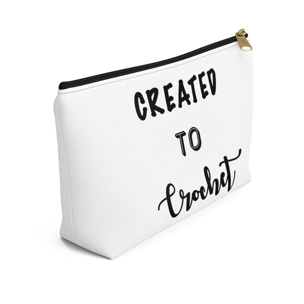 """Created to Crochet"" - White Accessory Pouch"