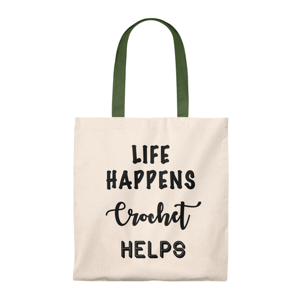 """Life Happens Crochet Helps""- Tote Bag - Vintage"