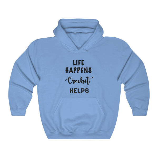 """Life Happens Crochet Helps""  Unisex Heavy Blend™ Hooded Sweatshirt"