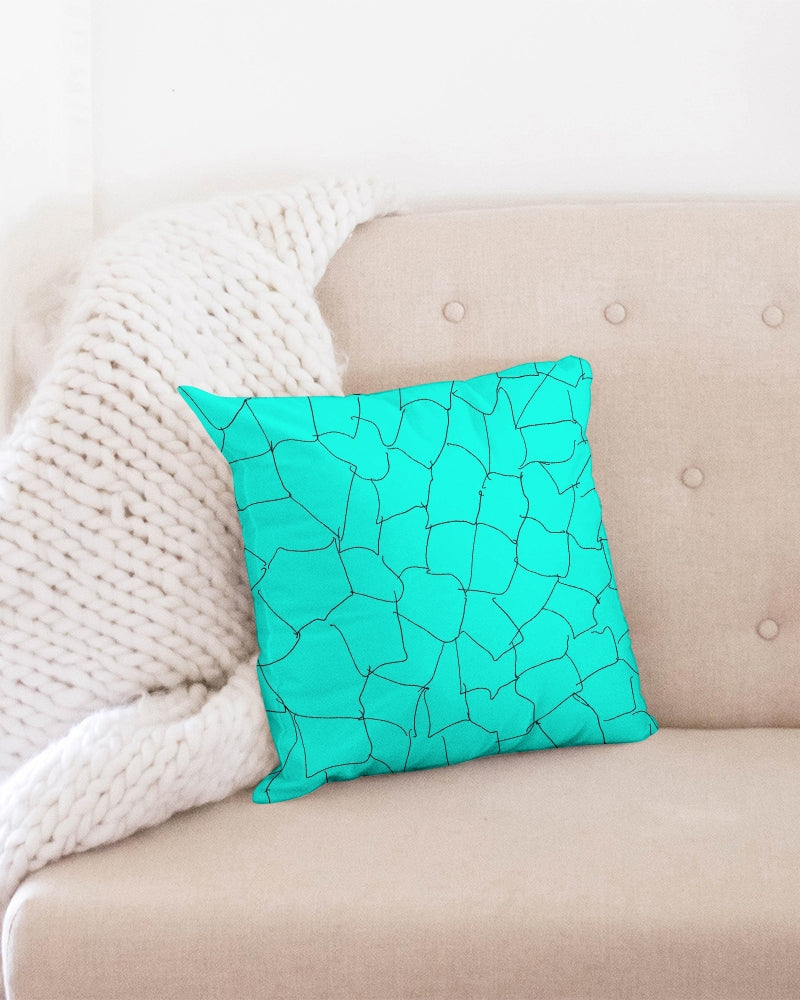 Kin Custom_001_Aqua Crackle Throw Pillow Case 16x16