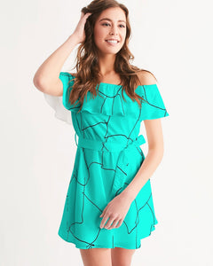 Kin Custom_001_Aqua Crackle Women's Off-Shoulder Dress
