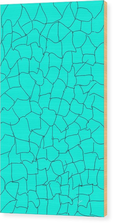 Pixels_Art Wood Print_Aqua Crackle