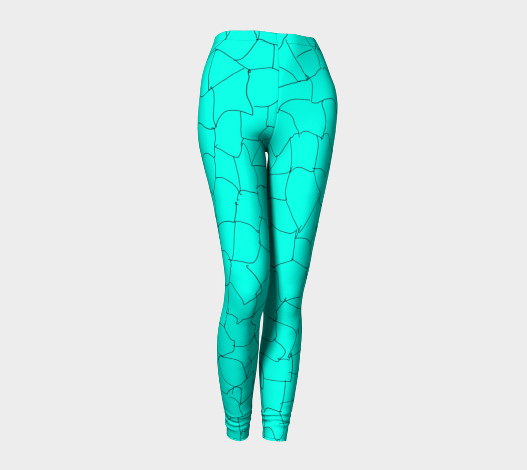 Aqua Crackle Leggings