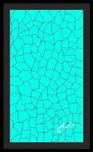 Aqua Crackle - Framed Digital Art