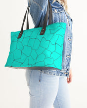 Load image into Gallery viewer, Kin Custom_001_Aqua Crackle Stylish Tote