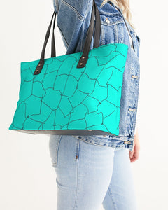 Kin Custom_001_Aqua Crackle Stylish Tote