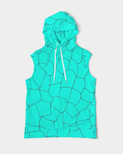 Kin Custom_001_Aqua Crackle Men's Premium Heavyweight Sleeveless Hoodie