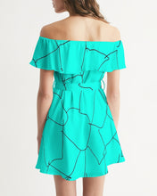 Load image into Gallery viewer, Kin Custom_001_Aqua Crackle Women's Off-Shoulder Dress