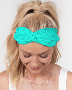 Kin Custom_001_Aqua Crackle Twist Knot Headband Set