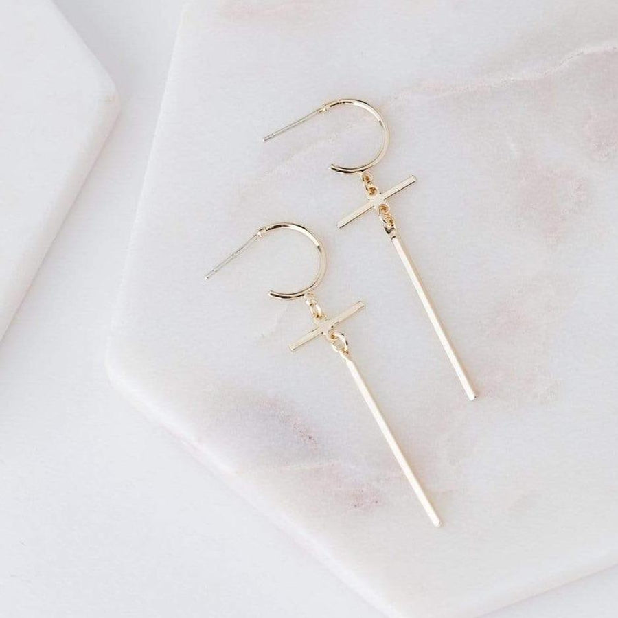 Everly Cross Hoop Earrings