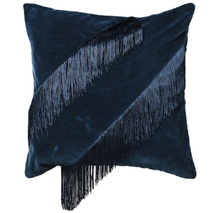 Navy Fringe Cushion Cover