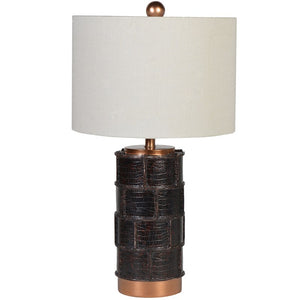 Leather Effect Patchwork Lamp with Shade