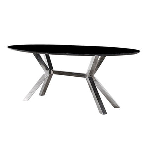 Black Oval Shaped Dining Table