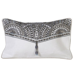 Hand Embroidered Silver Cushion Cover