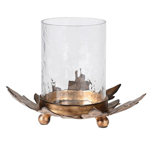 Large Gold Leaf Candle Holder